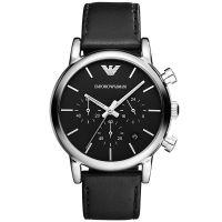 Emporio Armani Uhr AR1733 Herren Chronograph Schwarz Leder Black Watch NEU & OVP