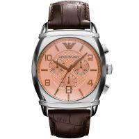 Emporio Armani Uhr AR0348 Herrenuhr Braun Silber Leder Chronograph Men NEU & OVP