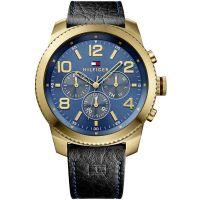 Tommy Hilfiger Uhr 1791108 Herrenuhr Schwarz Gold Blau Leder Watch NEU & OVP