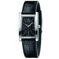 Calvin Klein Uhr K4P231C1 Refine Damen Leder Schwarz Silber Swiss Made NEU & OVP