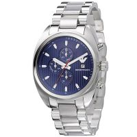 Emporio Armani Uhr AR5912 Herren Chronograph Blau Silber Edelstahl NEU & OVP