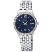 Seiko Uhr SUR691P1 Damenuhr Edelstahl Silber Blau Datum Strass Watch NEU & OVP