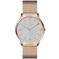 Mendozza Uhr MW-GR0301H-RM White Diamond Armbanduhr Silber Roségold