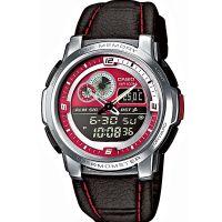 Casio Uhr AQF-102WL-4B Armbanduhr Analog Digital Herren Silber Rot NEU & OVP