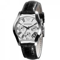 Emporio Armani Uhr AR0670 Damenuhr Leder Silber Black Chrono NEU & OVP