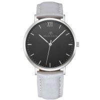 Mendozza Uhr MW-RS0104H-EN Midnight Black Armbanduhr Leder Schwarz Silber