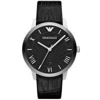 Emporio Armani Uhr AR1611 Herrenuhr Schwarz Leder Men Black Watch NEU & OVP