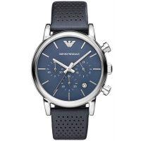 Emporio Armani Uhr AR1736 Herren Chronograph Blau Leder Blue Watch NEU & OVP