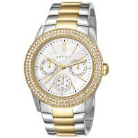 Esprit Uhr ES103822015 Damen Chronograph  Edelstahl Silber Gold Strass NEU & OVP