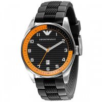 Emporio Armani Herrenuhr AR5876 Armbanduhr Edelstahl Black Orange NEU & OVP