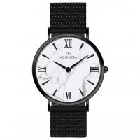 Mendozza Uhr MW-OB0400H-BM White Marble Marmor Armbanduhr Schwarz