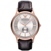 Emporio Armani Uhr AR9101 Herrenuhr Braun Silber Rosé Leder Men Watch NEU & OVP