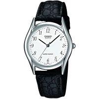 Casio Uhr MTP-1154PE-7B Herren Damen Armbanduhr Leder Weiß Schwarz NEU & OVP
