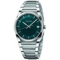 Calvin Klein Uhr K6K3114L Step Herren Edelstahl Silber Grün Swiss Made NEU & OVP