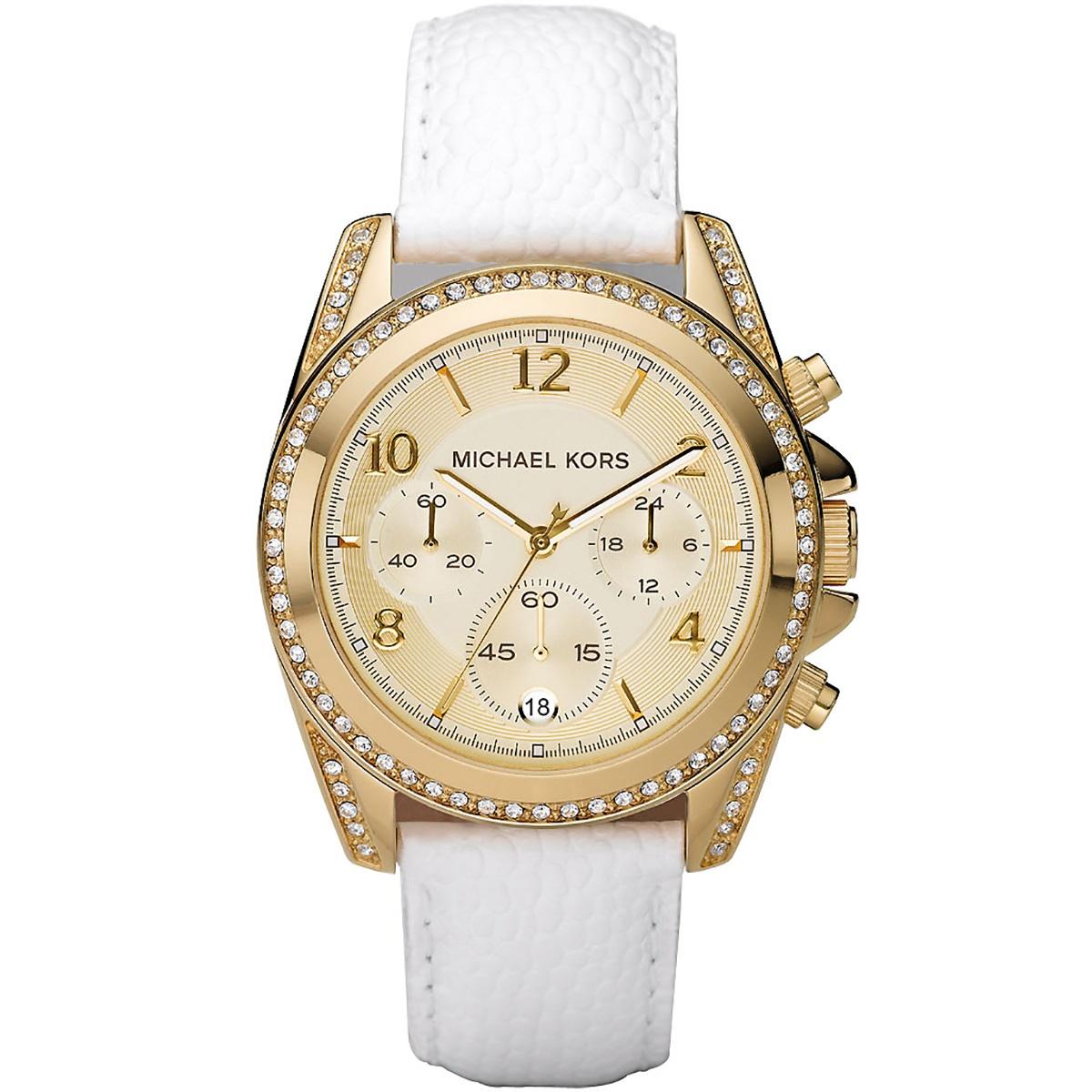 Details zu Michael Kors Uhr MK5460 Damenuhr Gold Weiß Strass Leder Chronograph NEU & OVP