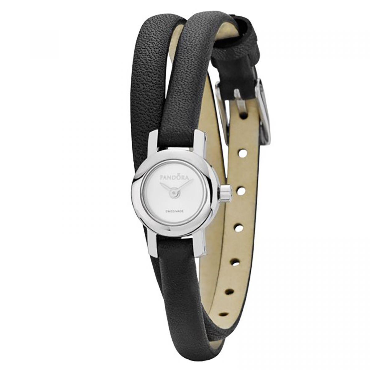 pandora damen uhr 811034wh leder armband schwarz silber. Black Bedroom Furniture Sets. Home Design Ideas